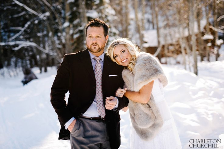 snowy wedding photos