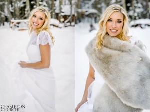 winter snowy bride photos