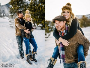 lake tahoe winter engaged couple