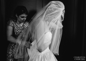 bridal dress with sisters