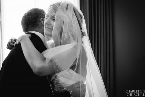 natural light of bride and father