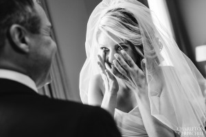 crying bride at look of father