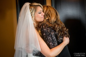 mother bride hug