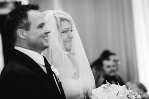 bride expression at ceremony