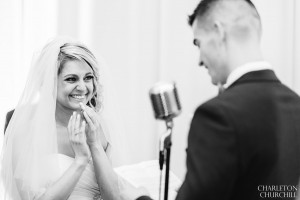 groom reads and bride cries