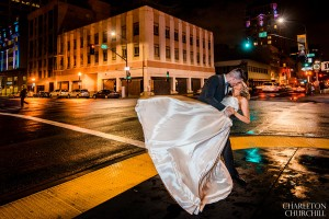 downtown night wedding photos slow shutter
