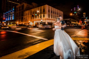 sacramento wedding photos downtown while raining J street