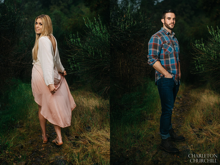 individual photos of bride and groom in country