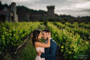 engaged session in vineyard