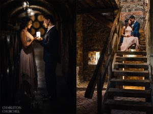 couple holding candle in castle
