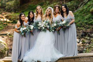 bridesmaids in woods