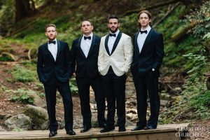 groomsmen in woods