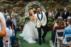 just married in the forest