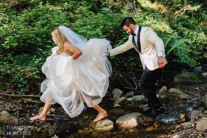 hiking in a wedding dress