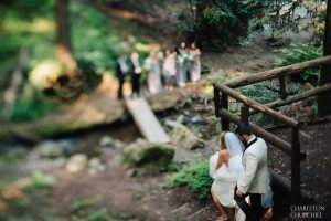 saratoga springs wedding party with tilt shift lens