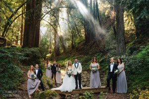 foggy sunlight with wedding party