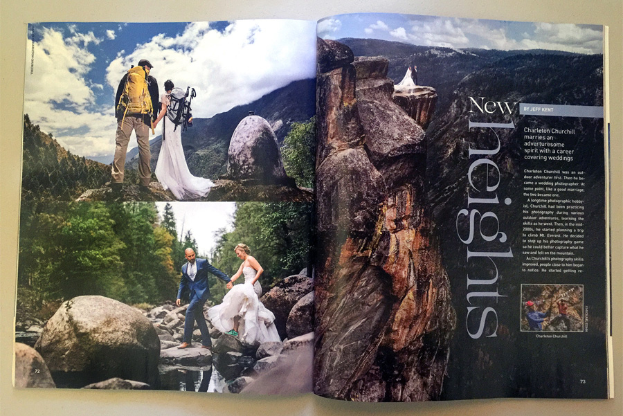 published featured in professional photographer magazine adventure weddings Charleton churchill