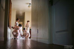 artistic hallway of bridesmaids