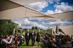 coloma villa florentina wedding ceremony with shade