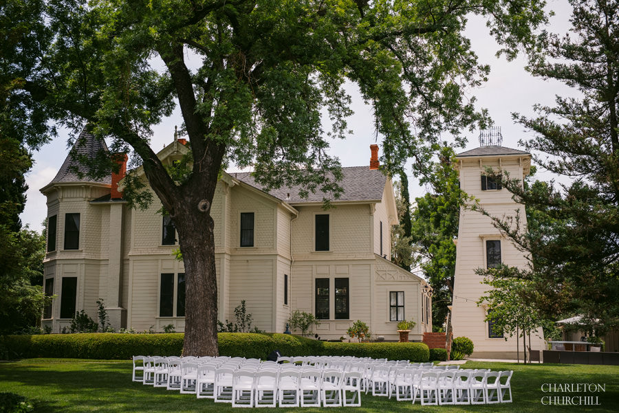 park winters wedding ceremony setup and chairs