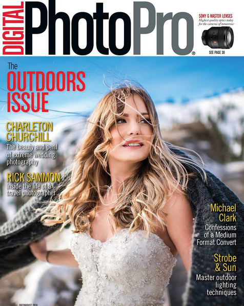 adventure wedding photographer front cover of wedding magazine digital photopro August 2016
