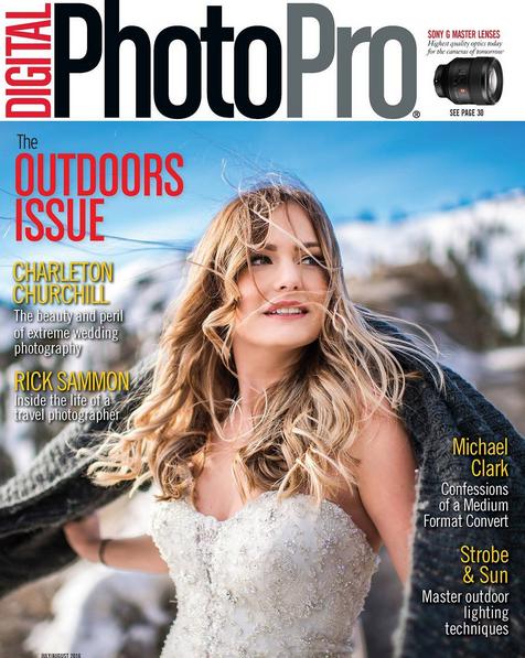 adventure wedding photographer front cover of wedding magazine digital photopro August 2016