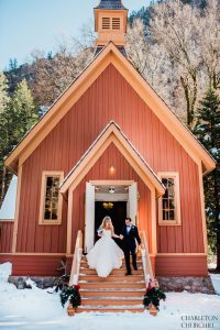 elopement couple married at Yosemite Church steeple