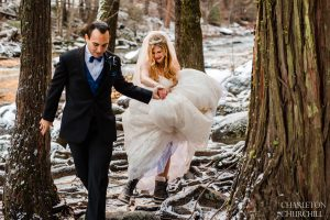 adventure wedding in Yosemite National Park with hiking boots in the snow