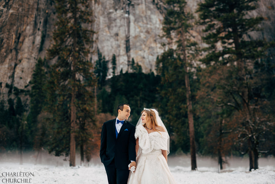Panorama Yosemite Wedding Photos Snowy Landscape At Valley View Witih
