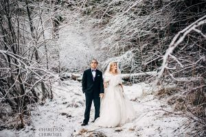 cold wintery wedding in the snow having an adventure