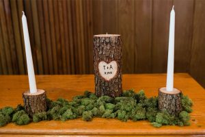 december wedding rustic wood and candles
