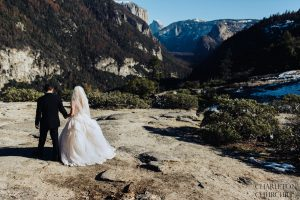 exploring yosemite with a wedding couple
