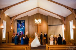 small intimate wedding in church of Yosemite national park