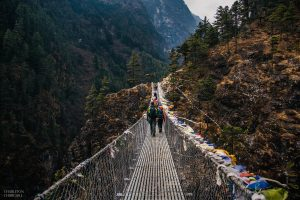 crossing dangerous everest bridge to namche bazar