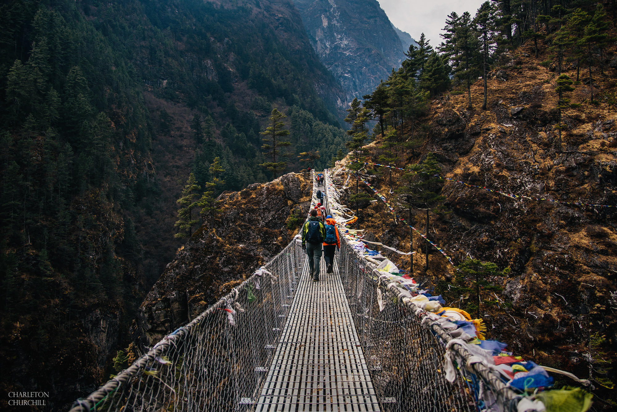 crossing dangerous everest bridge to namche bazar