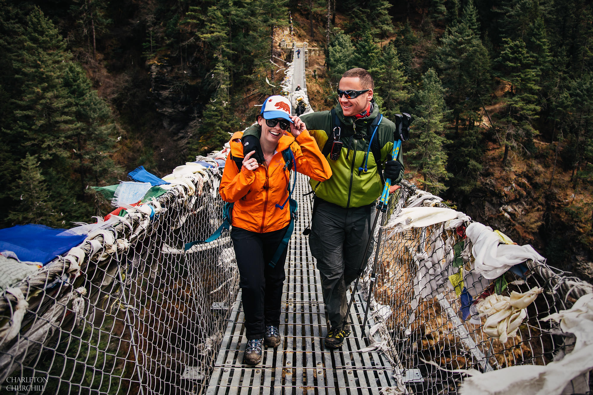 engagement couple crossing himalayan bridge to Everest base camp to get married