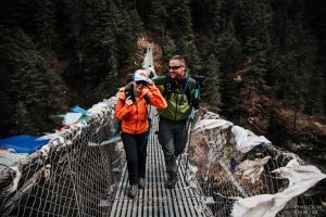 eloping couple on way to adventure wedding in himalayas