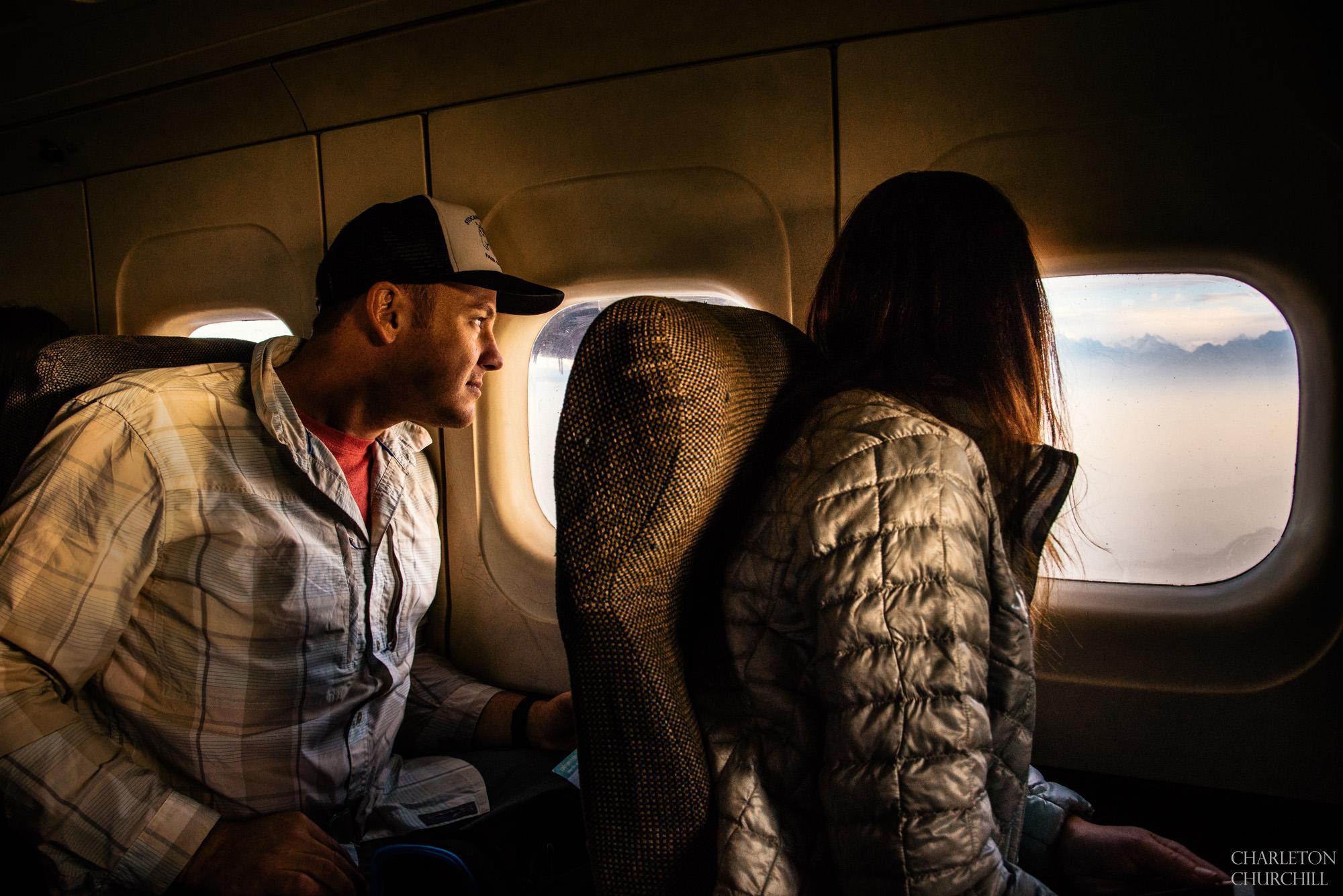 couple flying from kathmandu to lukla airport