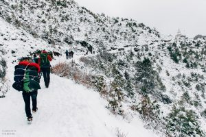 snowy winter adventure couple hike
