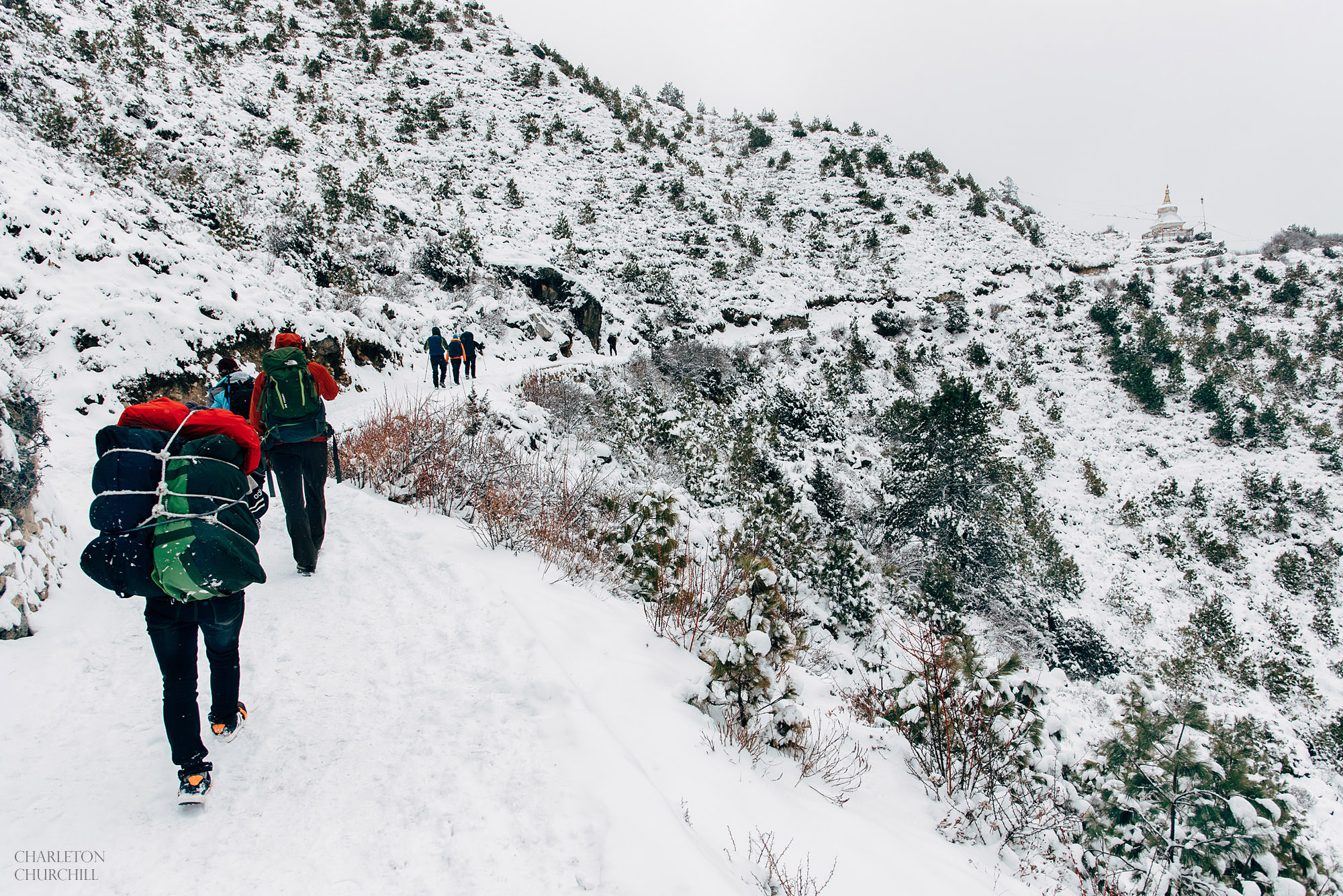 snowy winter adventure hike to wedding destination