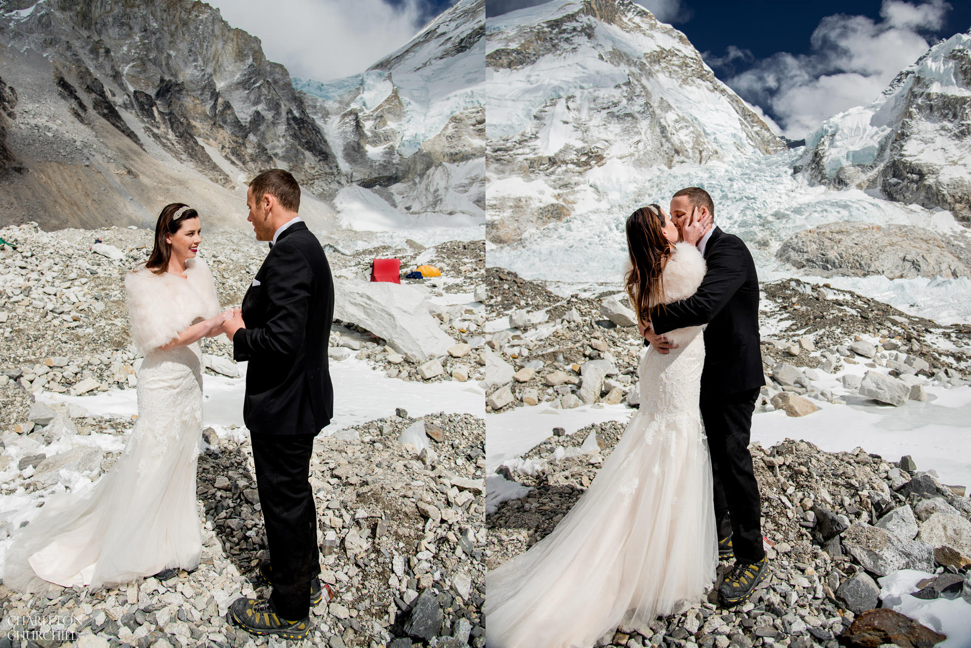 Wedding couple gets married on everest and kisses near ice-fall of the khumbu region