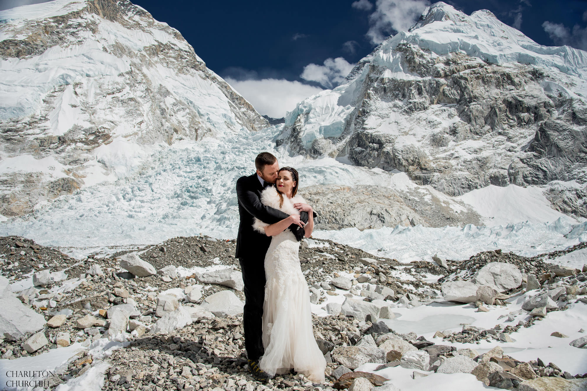 Mt. Everest base camp wedding photos of bride and groom