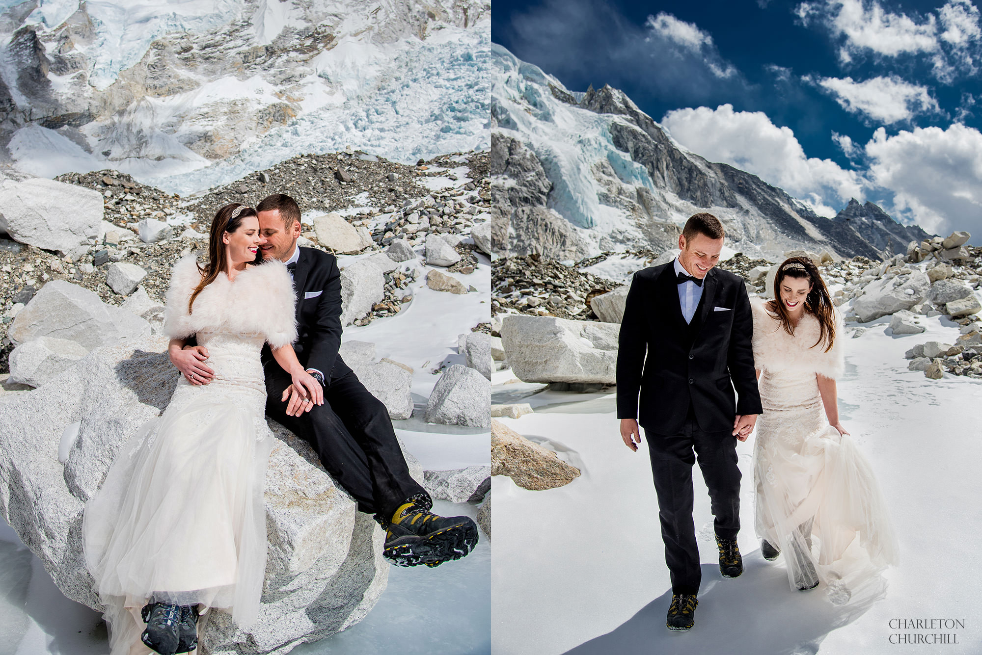 adventure wedding photos on mt everest on the icy glacier