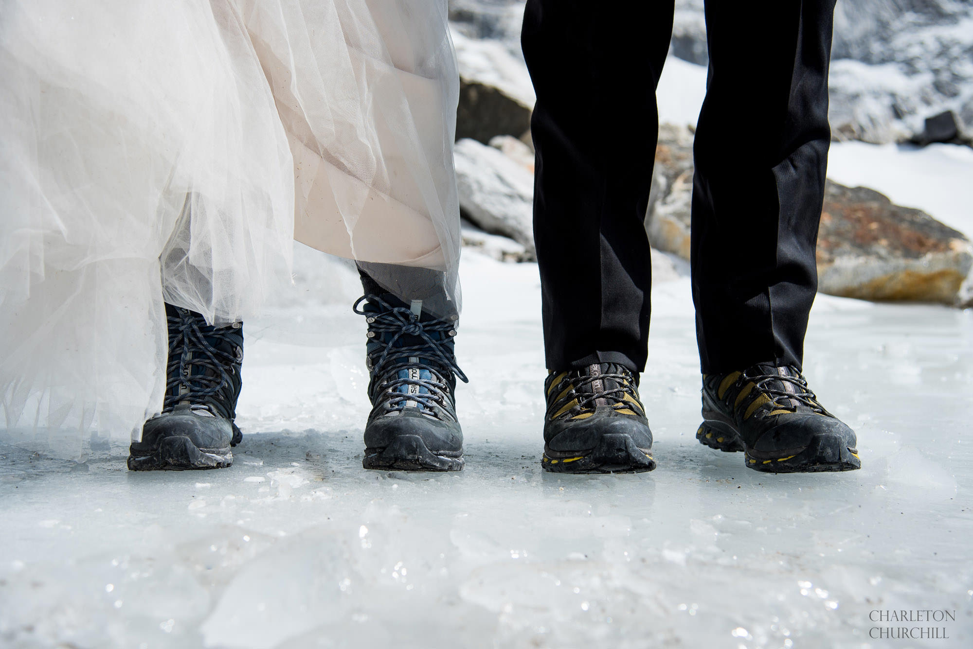 getting married in mountain boots