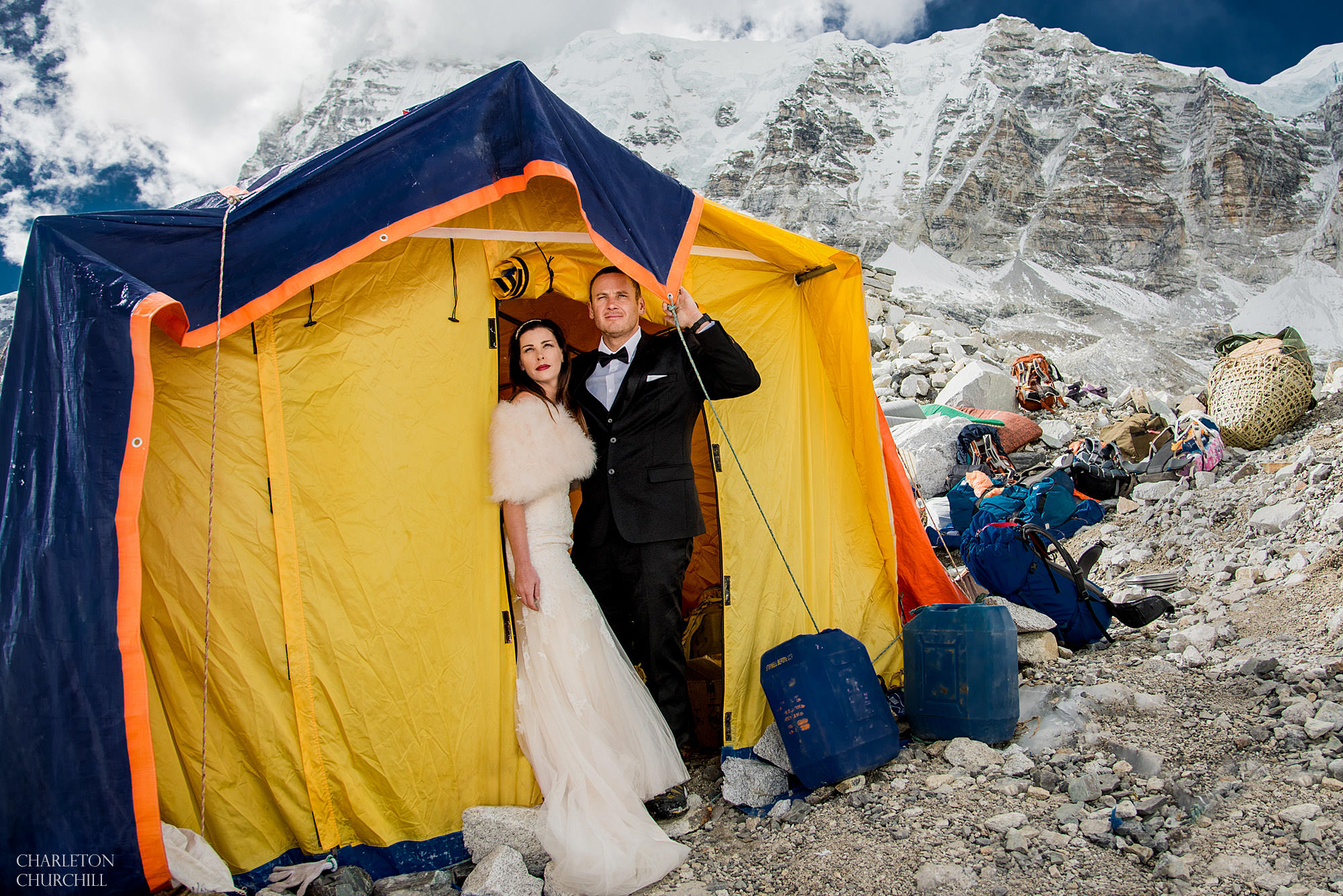destination wedding photos at (EBC) everest base camp with in march 2017