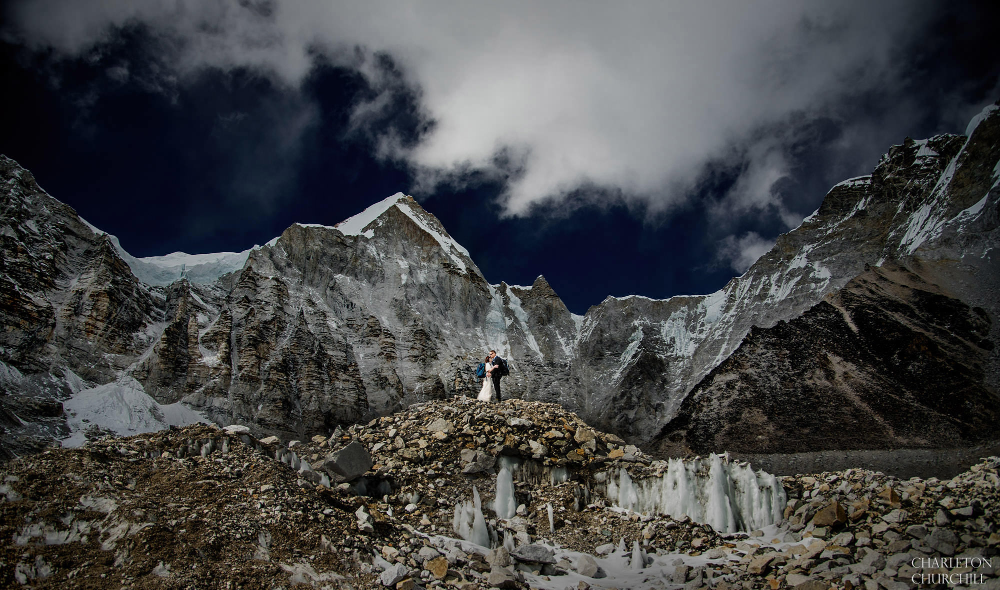 couple marries on Mt. Everest in backpack and wedding gown