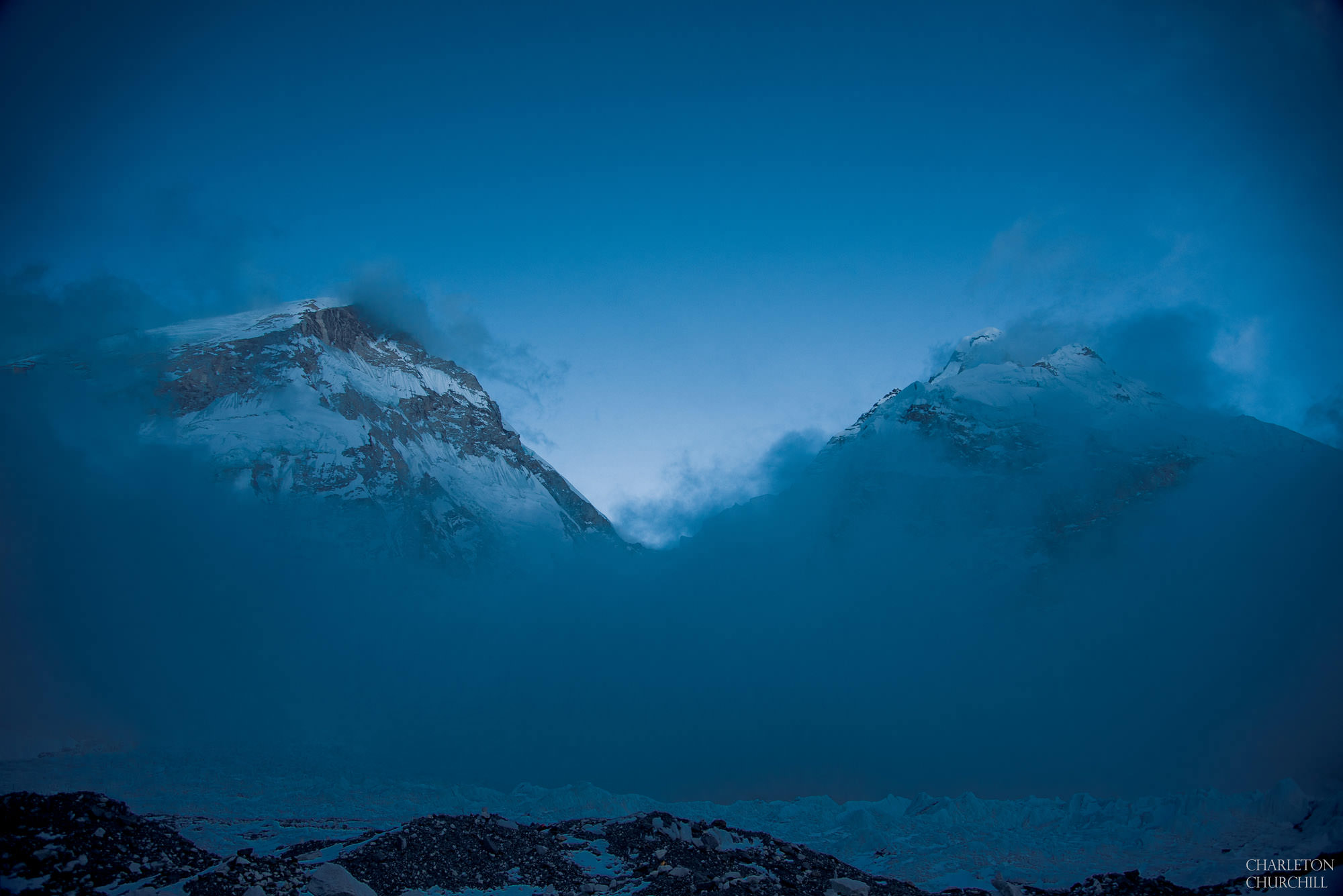 landscape photo of morning at everest base camp and blue sky
