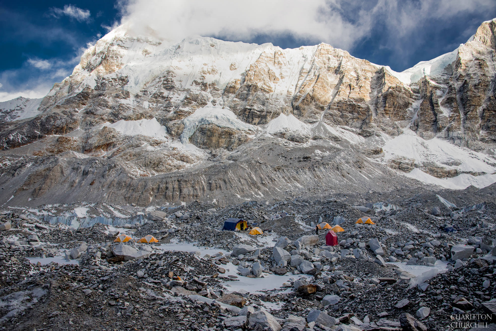 what basecamp on Everest looks like in March, not a lot of people