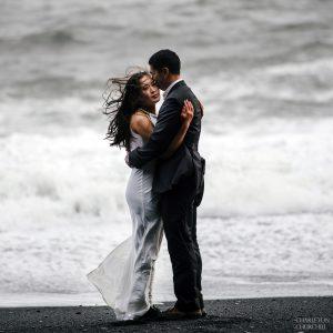 ocean beach shot at Reynisfjara with avdventure wedding photographer on Iceland