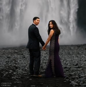 Skogafoss waterfall for adventure engagement shoot with Charleton churchill
